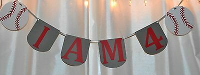 happy birthday i am 4 baseball themed hanging banner/sign - Baseball Happy Birthday Banner
