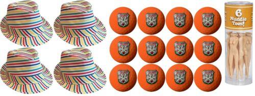 Caddyshack Judge Smails Foursome Pack Fedoras, Tees, Orange Bushwood Golf Balls