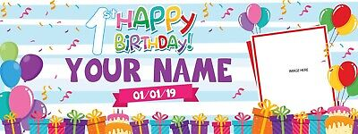 Birthday Banners With Photo Personalized (Personalized Happy 1st Birthday Banner with Photo Text Design Background)