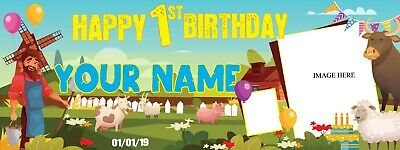 Birthday Banners With Photo Personalized (Personalized Happy 1st Birthday Banner with Photo Text Barnyard Background)
