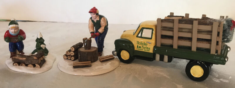 dept 56 snow village chopping firewood and firewood delivery truck