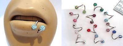 Twisted Steel Crystal Ball Lower Bottom Lip Labret Ring Hoop Choose Gauge Color