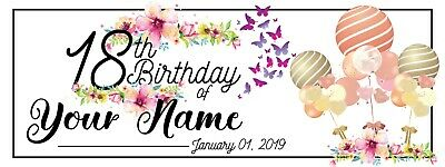 "Personalized 18th Birthday Banner Full Print Vinyl Party Decor Backdrop 18"" x 4'](Vinyl Birthday Banners Personalized)"