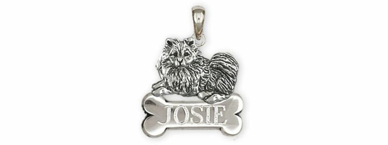 Keeshond Jewelry Sterling Silver Handmade Keeshond Personalized Pendant  KSH1B-N