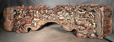 Antique Chinese carved Wood Gilt Cinnabar Red Architectural Frieze Lion Deer OLD