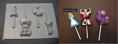 ALICE in WONDERLAND Cheshire Cat Queen Hearts Chocolate Soap Candy Lollipop Mold (Queen In Alice In Wonderland)
