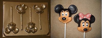 Mickey Minnie Mouse Face Head Lollipop Chocolate Candy Soap Crayon  Mold