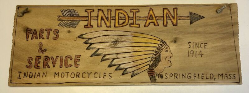 """Indian Motorcycle Sign Wooden Hand Painted Burned Wood 15 X 5.5"""""""