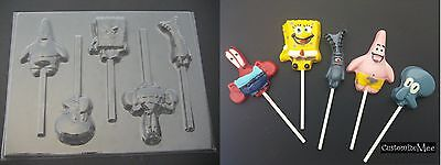 SPONGE BOB Patrick Plankton Mr Crabs Lollipop Chocolate Soap Candy Gummy Mold  - Sponge Bob Chocolate