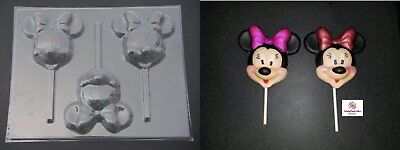 MINNIE MOUSE Large Face Head Chocolate Candy Lollipop Soap Mold - Minnie Mouse Lollipop Mold