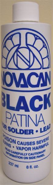 Novacan Black Patina for Stained Glass Lead & Solder - 8 oz.