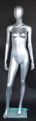 510h Female Mannequin Matte Silver Abstract Egg Head Body Form Torso Sfw46e-st