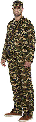 ADULTS MENS ARMY SOLDIER GUY MILITARY FORCES FANCY DRESS UP PARTY COSTUME OUTFIT - Army Guy Costume