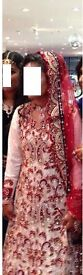 INDIAN BRIDAL DRESS WITH TRAIL IN RED,WHITE AND PURPLE (INCLUDES SKIRT AND BRIDAL SCRAF