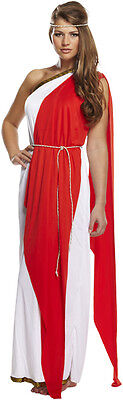 Ladies Red Greek Roman Grecian Goddess Fancy Dress Outfit Womens Adult Costume (Greek Outfit)