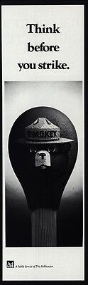 1984 SMOKEY THE BEAR - Think Before You Strike -Ad Council VINTAGE ADVERTISEMENT