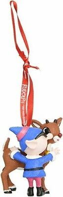 Department 56 Rudolph the Red-Nosed Reindeer and Elf Hanging Ornament NWT