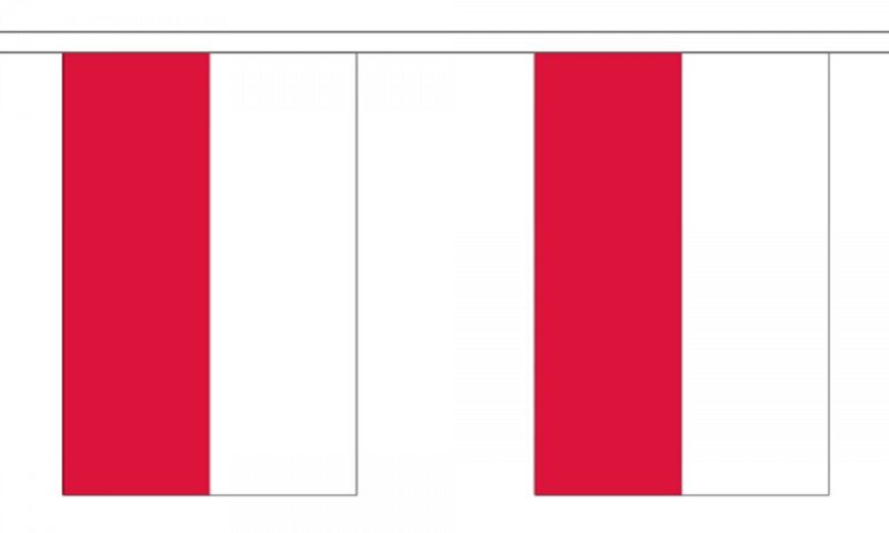 Poland Flag Bunting - 9m long with 30 Flags - LAST FEW