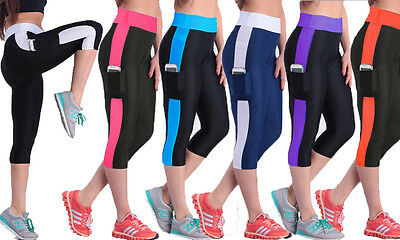 PRINT SPORT CAPRI LEGGINGS with pocket! sportswear, gymwear, exercise! 5 colours