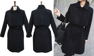 Wool Blend Lapel Collar Cape Style Coat Jacket! Black - 3 sizes! Long w/ belt