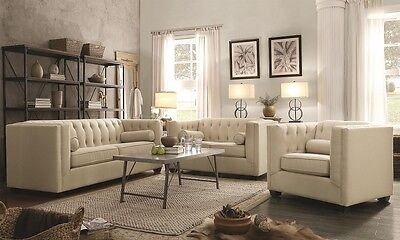 Cairns Stationary Sofa Loveseat & Chair 3Pcs with Tufted Back and Lumbar -