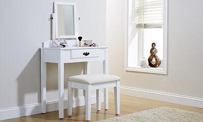 Shaker-stil Holz (Shaker Stil Schminktisch mit Spiegel und Stuhl in weiß oder Schwarz)