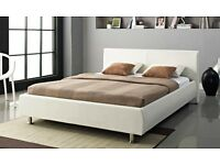 Designer Orion White Bed Frame 5FT King Size With Mattress Options Available