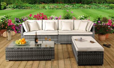 Rattan Garden Patio Furniture Outdoor 4 Piece Set - Sofa, Ottoman, Coffee Table