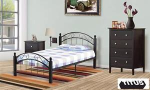 Cappuccino Turnpost/ Metal Complete Twin Bed