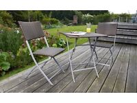 Brand New Boxed Three Piece Garden / Outdoor Foldable Weather Proof Rattan Bistro Dinning set.