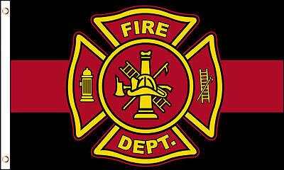 Fire Department Thin Red Line Flag 3x5 ft Maltese Cross Firemen Fireman Memorial