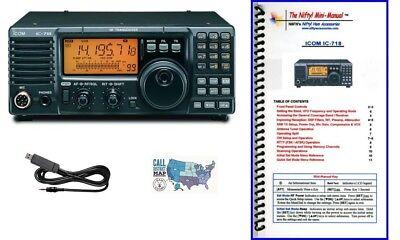 (Icom IC-718 100W HF Radio w/ Nifty! Mini-Manual & RT Systems Prog/Control Cable)