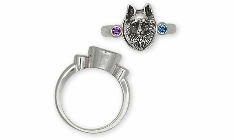 Schipperke Jewelry Sterling Silver Schipperke Ring Handmade Dog Jewelry SC1-SR