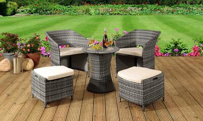 Garden Furniture - 5PC Rattan Garden Patio Furniture Set Outdoor - 2 Chairs 2 Stools & Coffee Table