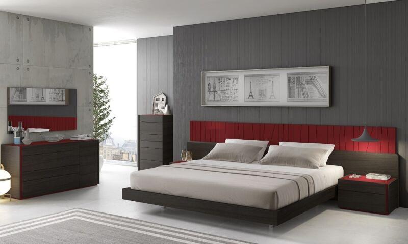 Elegant Design Natural Red Lacquer 5 Piece King Size Bedroom Set Furniture