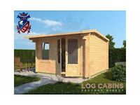 Brand New Log Cabin | 3.5m x 3.5m | Double Glazed | 44mm Logs | Cambridge Log Cabin