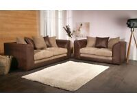 Lovely BRAND NEW brown and beige cord sofa suite ,stylish 3 and 2 ,can deliver