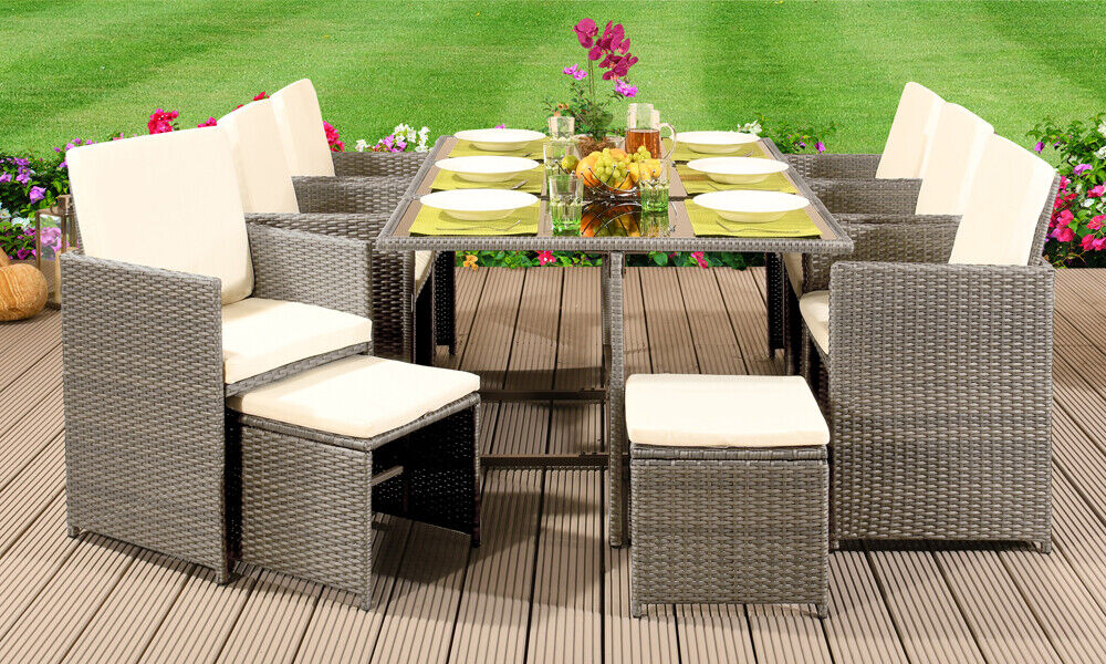 Garden Furniture - CUBE RATTAN GARDEN FURNITURE SET CHAIR SOFA TABLE OUTDOOR PATIO WICKER 10 SEATER