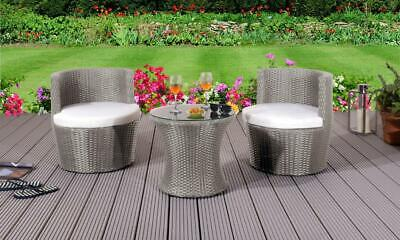 Garden Furniture - 3 Piece Rattan Bistro Stackable Patio Garden Furniture Set - Table & 2 Chairs