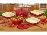 Cooks Professional Red Cast Iron Cookware 7 Piece Pan Set
