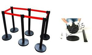 6pcs Retractable Belt Stanchions Post Queue Pole Crowd Control 170524
