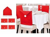 6pcs Christmas Santa Clause Red Hat Chair Cover Slipcovers Dinner Dining Table Party Décor Set