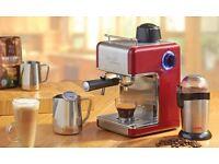 Cooks Professional Italian Red Espresso Cappuccino Coffee Machine