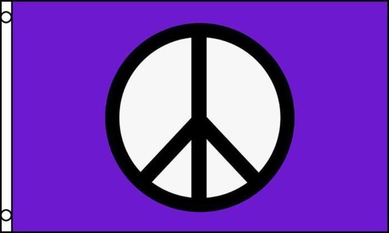PURPLE PEACE SIGN 3X5 FLAG inside or outside hanging hippie novelty emblem #602
