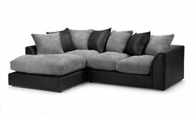 *QUALITY ASSURED* DYLAN JUMBO CORD FABRIC CORNER SOFA or 3+2- DOUBLE PADDED SAME DAY/NEXT DAY