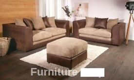 💖💥🔥Black/Grey Or Brown/Mink❤Brand New Jumbo Cord 'Double Padded' Byron Corner Or 3+2 Leather Sofa