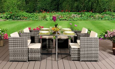 9 11 13 PIECE LOW BACK RATTAN GARDEN CUBE SET CHAIRS SOFA TABLE OUTDOOR PATIO