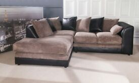 HIGH QUALITY - New Byron Left / Right Hand Corner Sofa In Brown Colour, New Fabric Corner Sofa