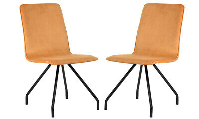 2PCS Dining Chairs with Yellow Soft Velvet Seat Cushion Metal Legs Modern