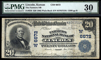 20 1902 Pb The Farmers National Bank Of Lincoln Kansas Tough Bank Only 6 Large